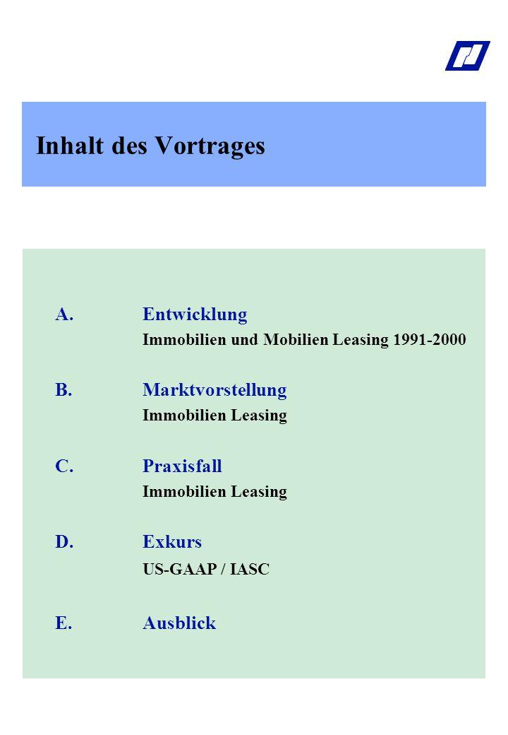 Inhalt des Vortrages A.Entwicklung Immobilien und Mobilien Leasing 1990-2000 B.Marktvorstellung Immobilien Leasing C.Praxisfall Immobilien Leasing D.Exkurs US-GAAP / IASC E.Ausblick A.Entwicklung Immobilien und Mobilien Leasing 1991-2000 B.Marktvorstellung Immobilien Leasing C.Praxisfall Immobilien Leasing D.Exkurs US-GAAP / IASC E.Ausblick