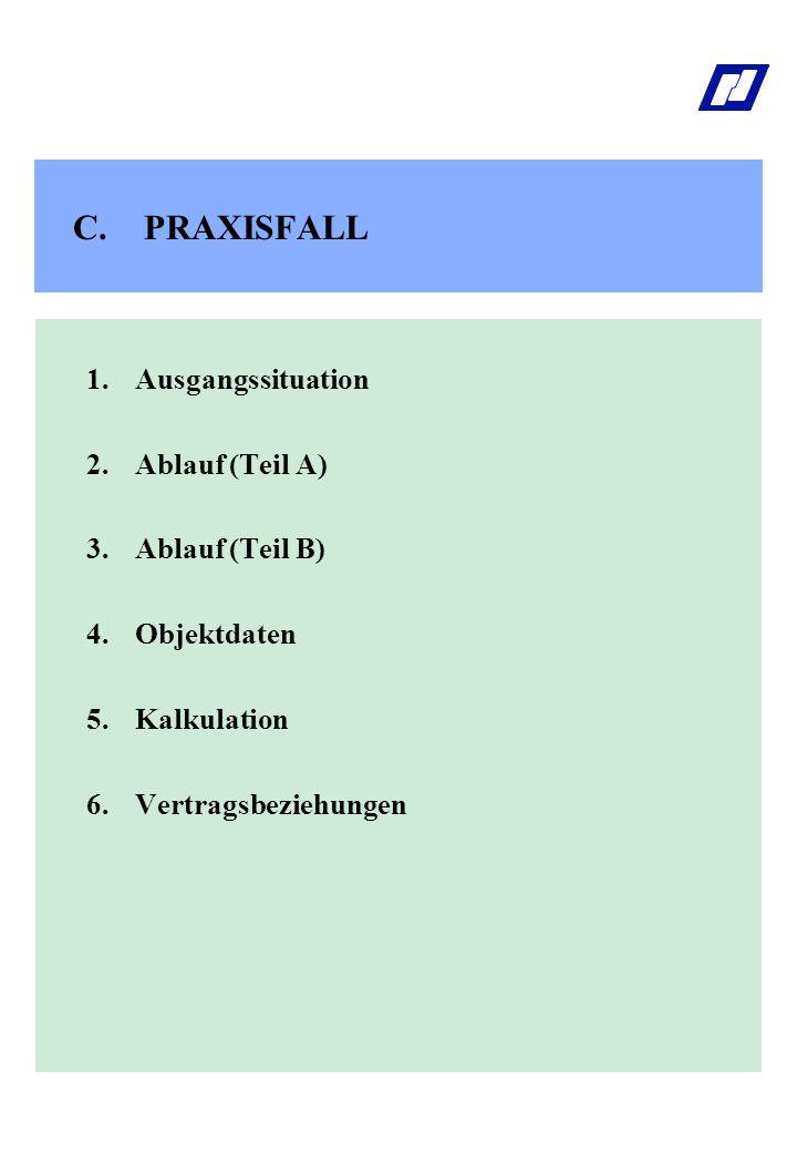 C.PRAXISFALL 1.Ausgangssituation 2. Ablauf (Teil A) 3.