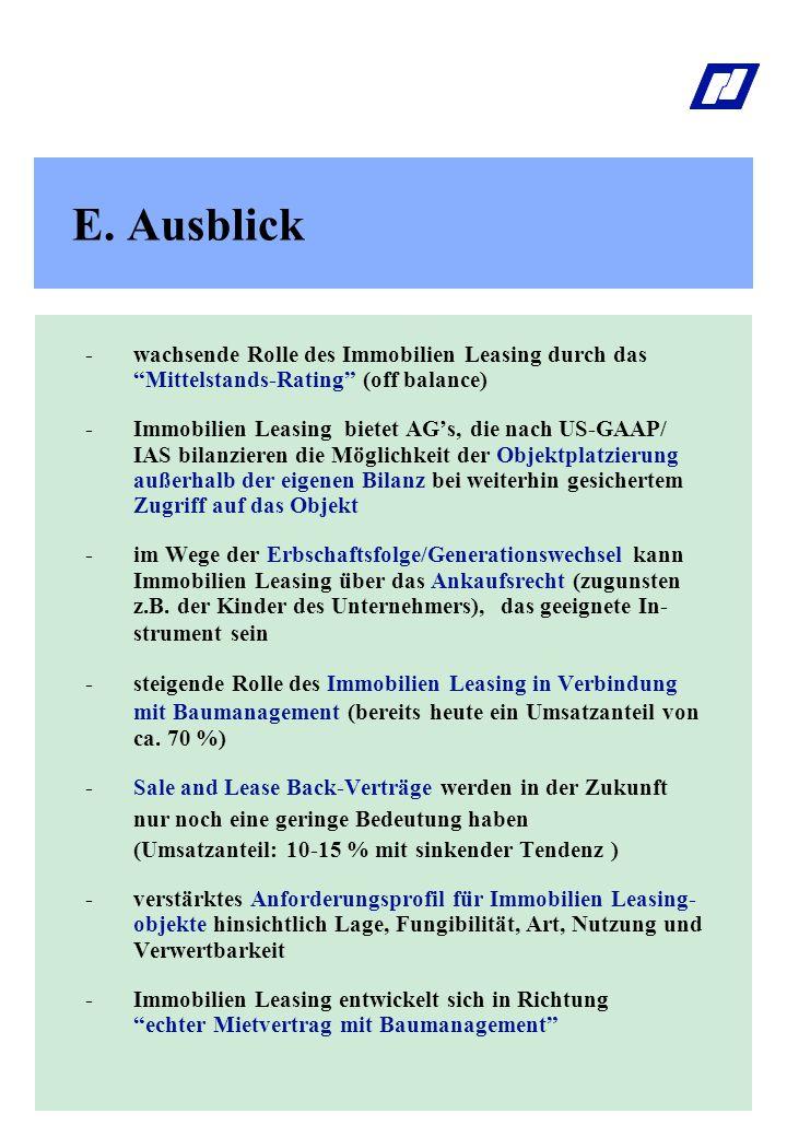 "E. Ausblick - wachsende Rolle des Immobilien Leasing durch das ""Mittelstands-Rating"" (off balance) -Immobilien Leasing bietet AG's, die nach US-GAAP/"