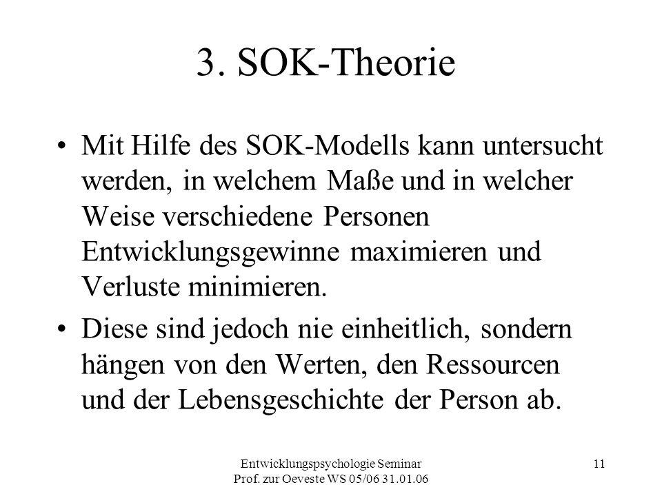 Entwicklungspsychologie Seminar Prof. zur Oeveste WS 05/06 31.01.06 11 3. SOK-Theorie Mit Hilfe des SOK-Modells kann untersucht werden, in welchem Maß