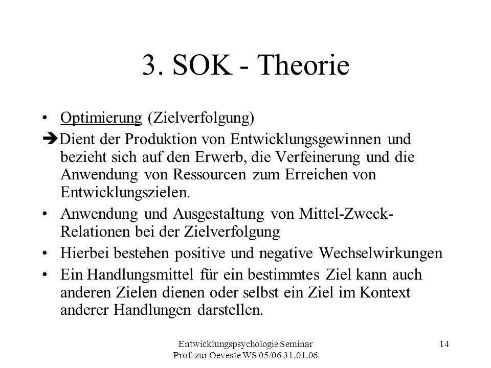 Entwicklungspsychologie Seminar Prof. zur Oeveste WS 05/06 31.01.06 14 3. SOK - Theorie Optimierung (Zielverfolgung)  Dient der Produktion von Entwic
