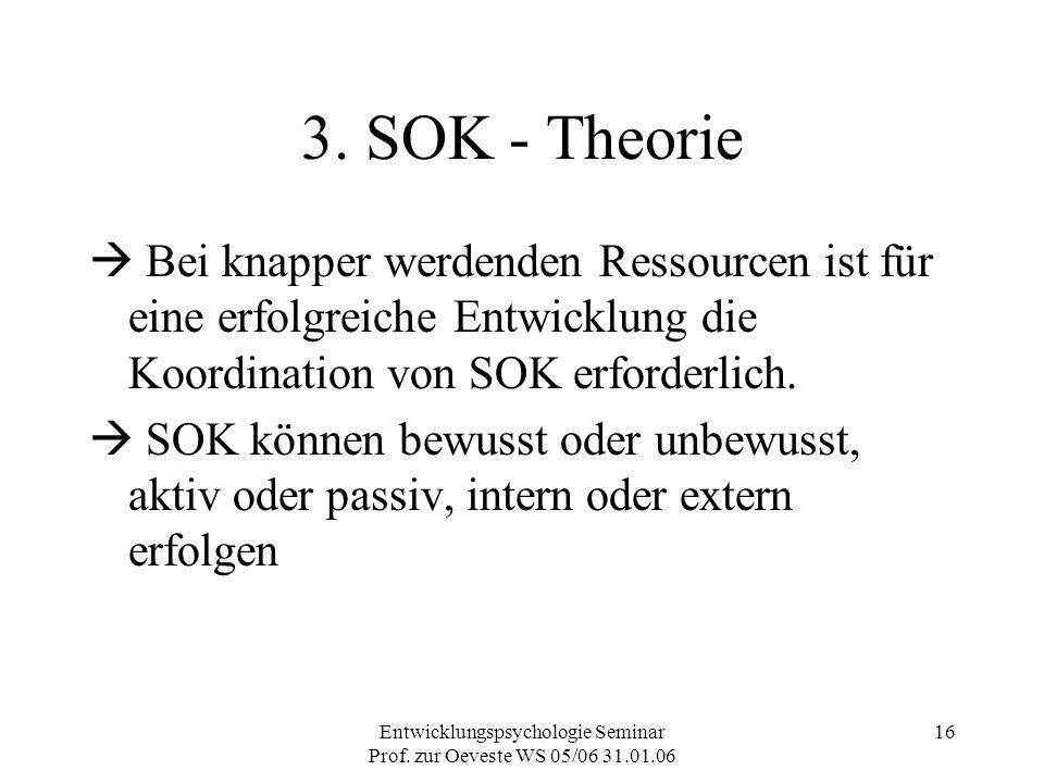 Entwicklungspsychologie Seminar Prof. zur Oeveste WS 05/06 31.01.06 16 3. SOK - Theorie  Bei knapper werdenden Ressourcen ist für eine erfolgreiche E