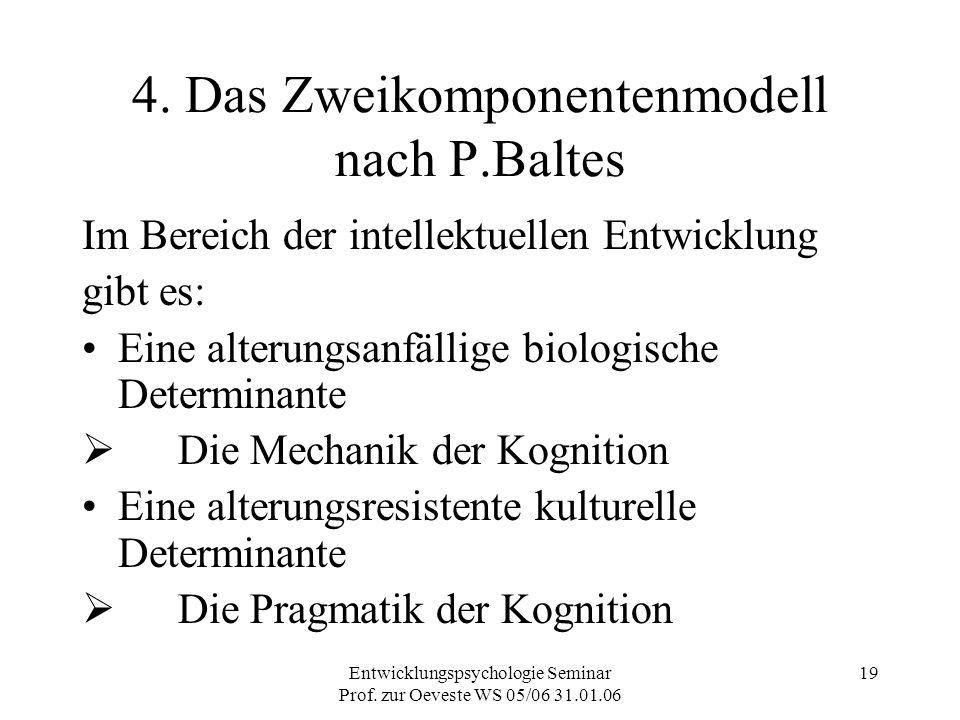 Entwicklungspsychologie Seminar Prof. zur Oeveste WS 05/06 31.01.06 19 4. Das Zweikomponentenmodell nach P.Baltes Im Bereich der intellektuellen Entwi
