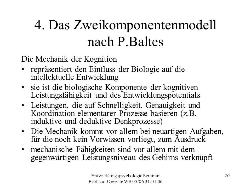 Entwicklungspsychologie Seminar Prof. zur Oeveste WS 05/06 31.01.06 20 4. Das Zweikomponentenmodell nach P.Baltes Die Mechanik der Kognition repräsent