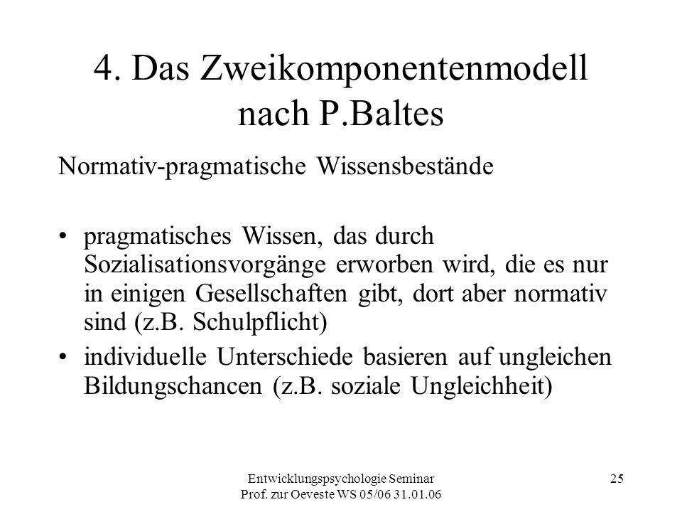 Entwicklungspsychologie Seminar Prof. zur Oeveste WS 05/06 31.01.06 25 4. Das Zweikomponentenmodell nach P.Baltes Normativ-pragmatische Wissensbeständ