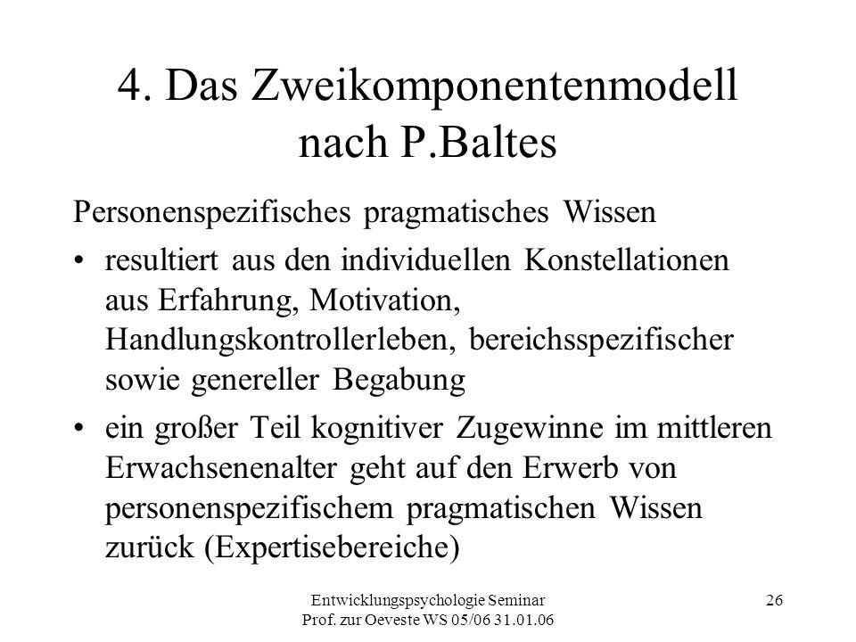 Entwicklungspsychologie Seminar Prof. zur Oeveste WS 05/06 31.01.06 26 4. Das Zweikomponentenmodell nach P.Baltes Personenspezifisches pragmatisches W