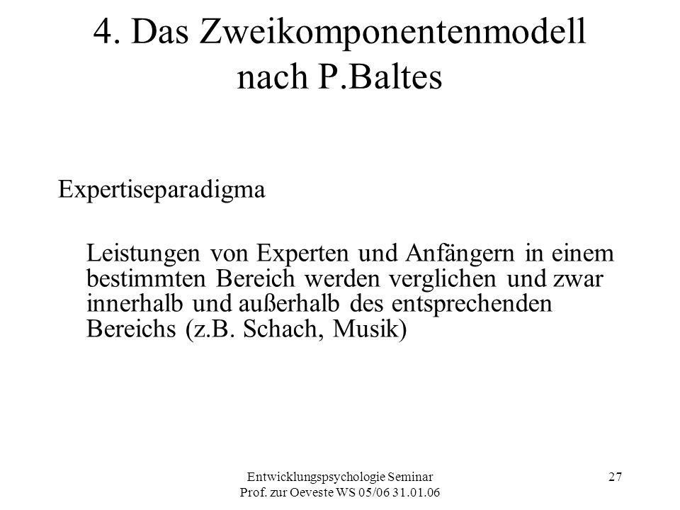 Entwicklungspsychologie Seminar Prof. zur Oeveste WS 05/06 31.01.06 27 4. Das Zweikomponentenmodell nach P.Baltes Expertiseparadigma Leistungen von Ex