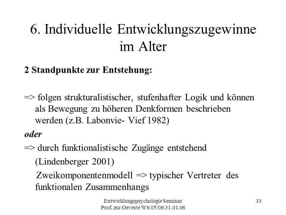 Entwicklungspsychologie Seminar Prof. zur Oeveste WS 05/06 31.01.06 33 6. Individuelle Entwicklungszugewinne im Alter 2 Standpunkte zur Entstehung: =>