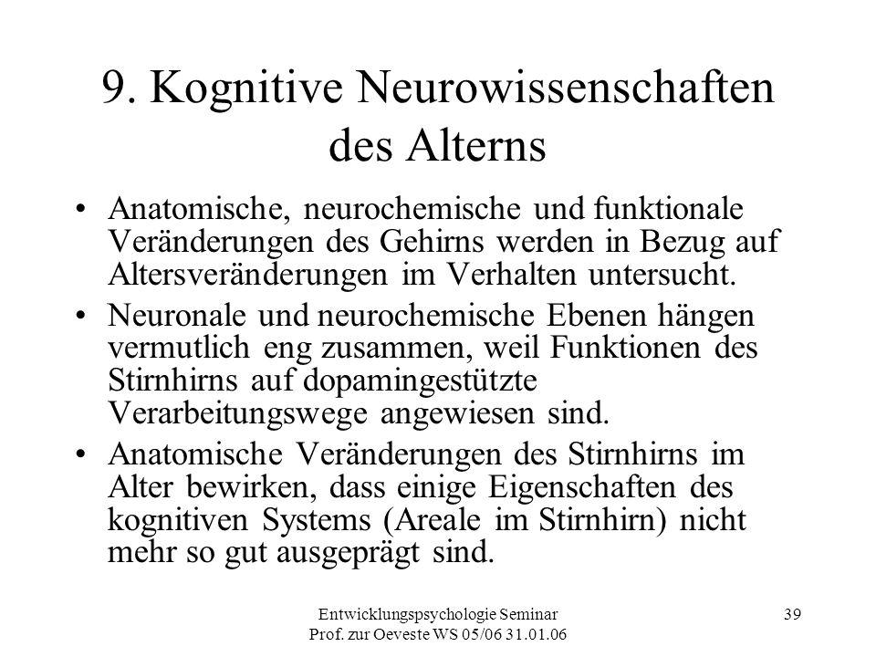 Entwicklungspsychologie Seminar Prof. zur Oeveste WS 05/06 31.01.06 39 9. Kognitive Neurowissenschaften des Alterns Anatomische, neurochemische und fu