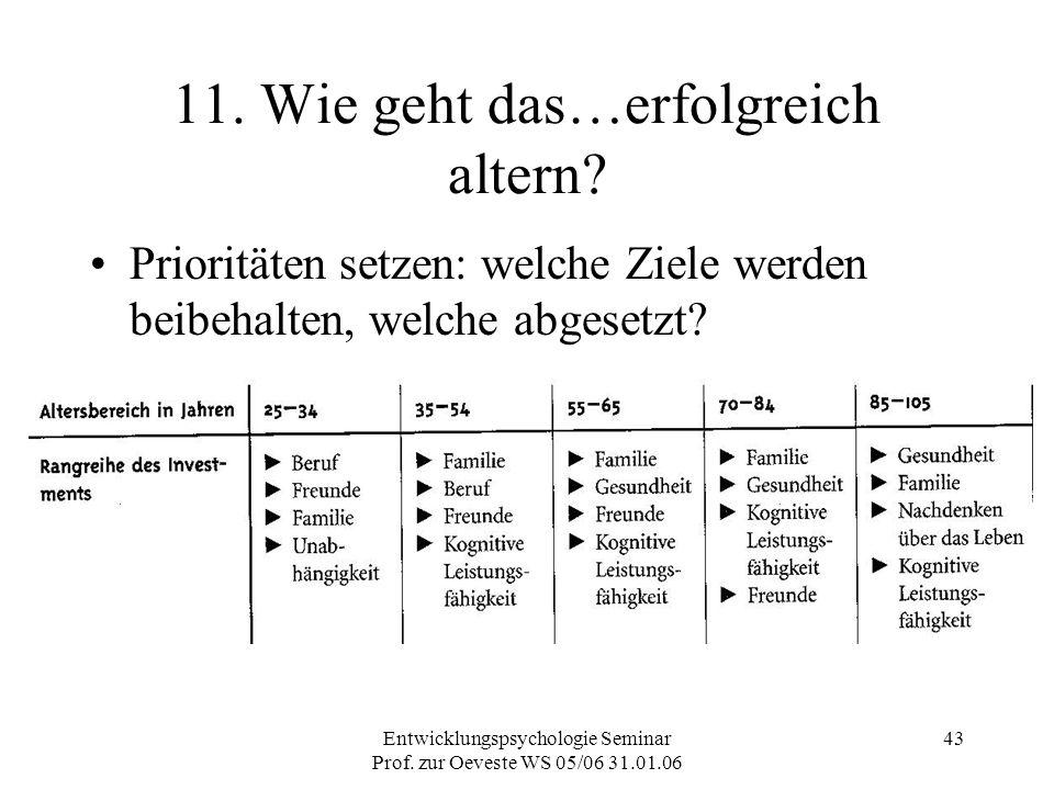 Entwicklungspsychologie Seminar Prof. zur Oeveste WS 05/06 31.01.06 43 11. Wie geht das…erfolgreich altern? Prioritäten setzen: welche Ziele werden be