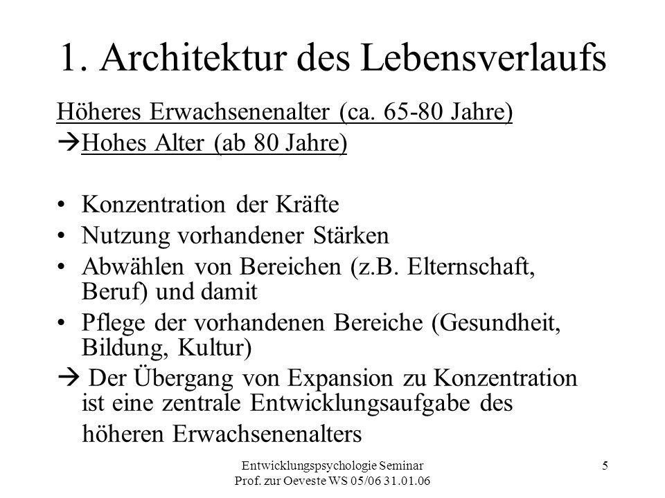Entwicklungspsychologie Seminar Prof. zur Oeveste WS 05/06 31.01.06 5 1. Architektur des Lebensverlaufs Höheres Erwachsenenalter (ca. 65-80 Jahre)  H