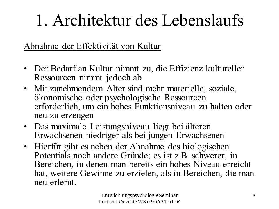 Entwicklungspsychologie Seminar Prof. zur Oeveste WS 05/06 31.01.06 8 1. Architektur des Lebenslaufs Abnahme der Effektivität von Kultur Der Bedarf an
