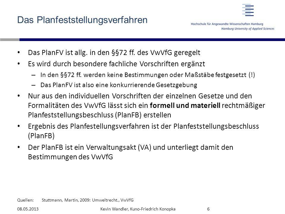 Quellen: Das Planfeststellungsverfahren Das PlanFV ist allg. in den §§72 ff. des VwVfG geregelt Es wird durch besondere fachliche Vorschriften ergänzt