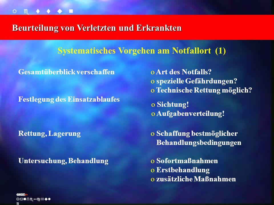    Beurteilung von Verletzten und Erkrankten Ž Landesschul e Systematisches Vorgehen am Notfallort (1) Gesamtüberblick verschaffen o Art des Notfalls.