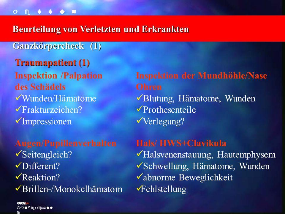    Beurteilung von Verletzten und Erkrankten Ž Landesschul e Ganzkörpercheck (1) Traumapatient (1) Inspektion /Palpation des Schädels Wunden/Hämatome Frakturzeichen.
