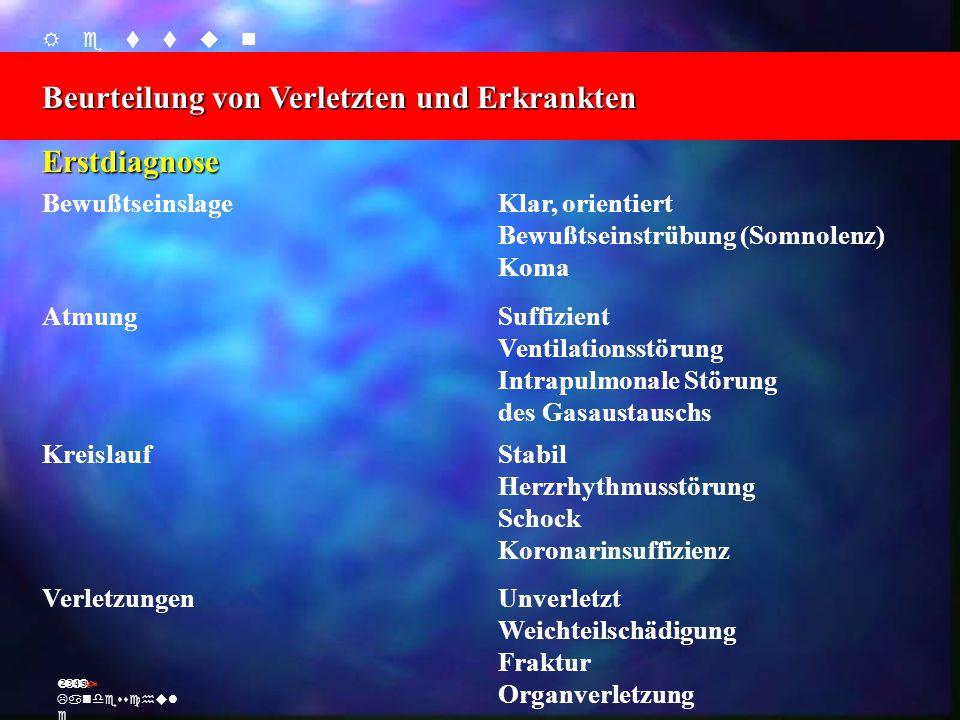    Beurteilung von Verletzten und Erkrankten Ž Landesschul e Erstdiagnose BewußtseinslageKlar, orientiert Bewußtseinstrüb