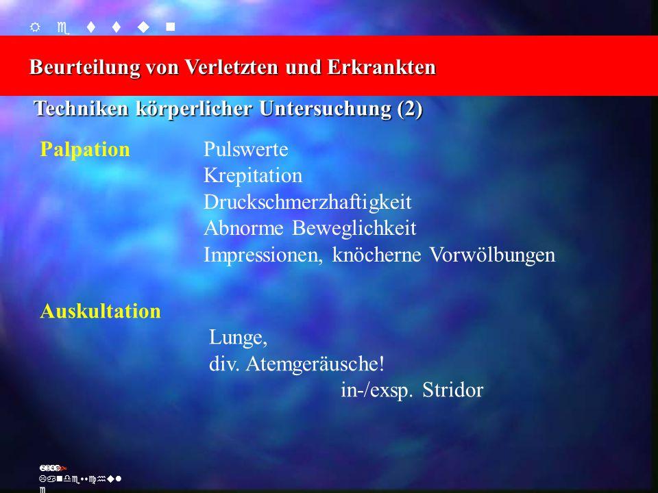    Beurteilung von Verletzten und Erkrankten Ž Landesschul e Palpation Auskultation Techniken körperlicher Untersuchung (2) Pulswerte Krepitation Druckschmerzhaftigkeit Abnorme Beweglichkeit Impressionen, knöcherne Vorwölbungen Lunge, div.