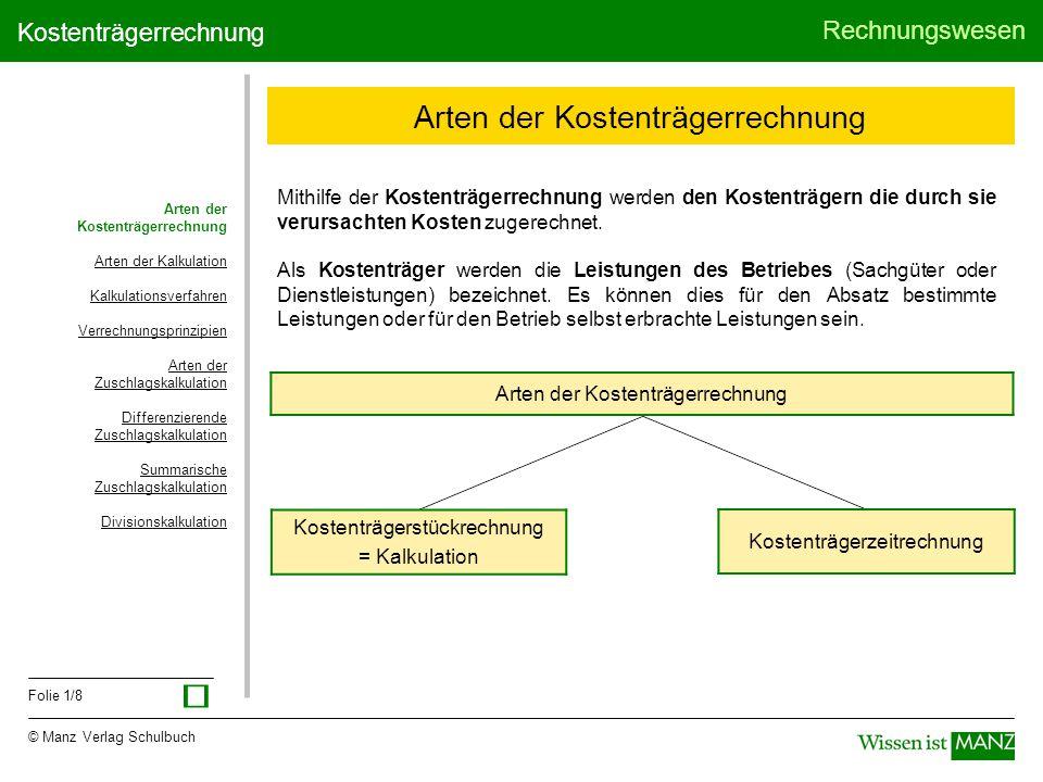 © Manz Verlag Schulbuch Rechnungswesen Folie 1/8 Kostenträgerrechnung Arten der Kostenträgerrechnung Arten der Kalkulation Kalkulationsverfahren Verre