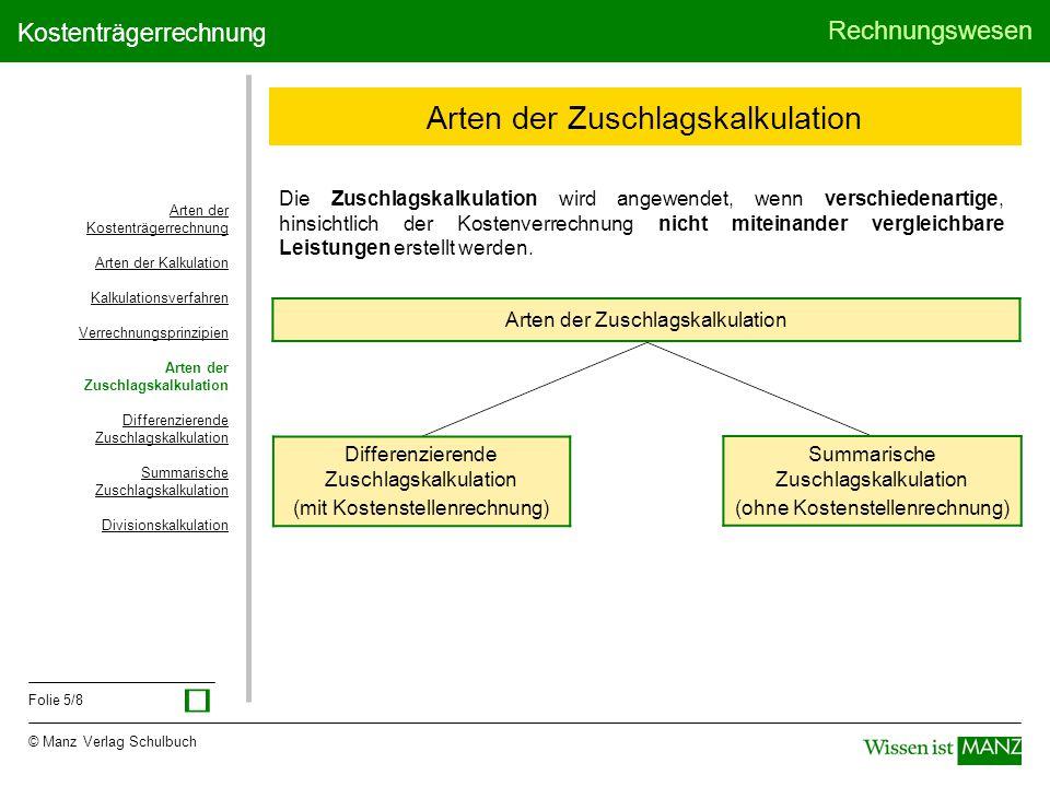 © Manz Verlag Schulbuch Rechnungswesen Folie 5/8 Kostenträgerrechnung Arten der Zuschlagskalkulation Differenzierende Zuschlagskalkulation (mit Kosten