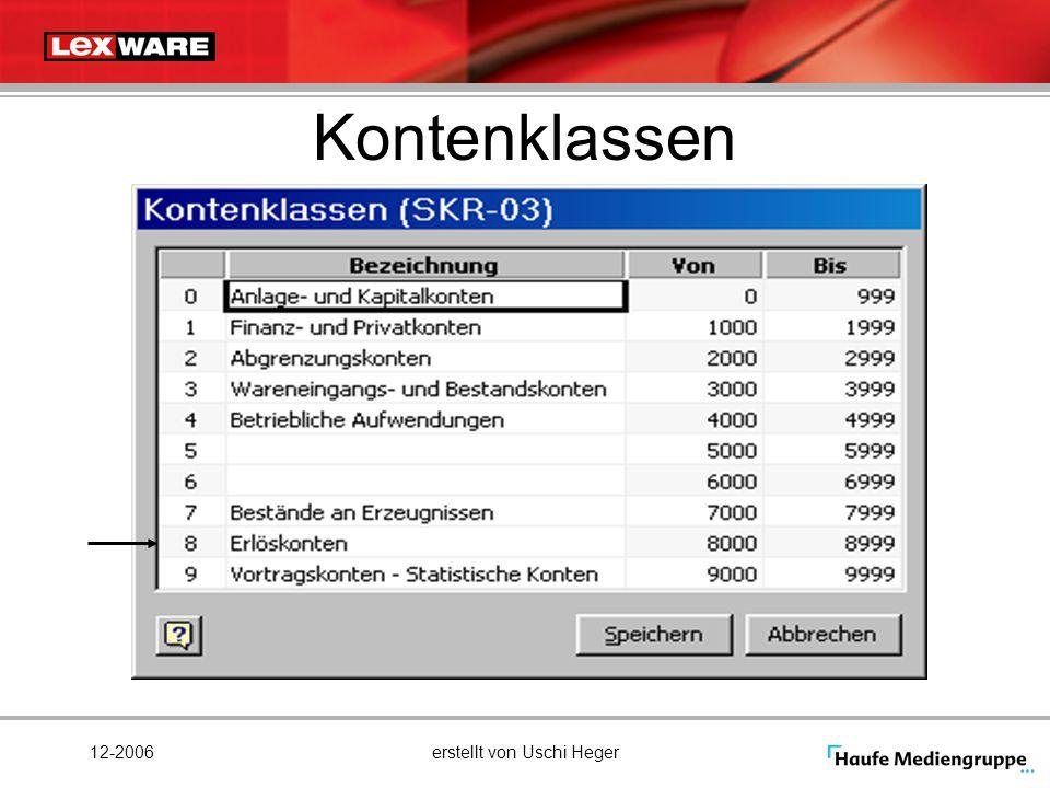 12-2006erstellt von Uschi Heger Kontenklassen