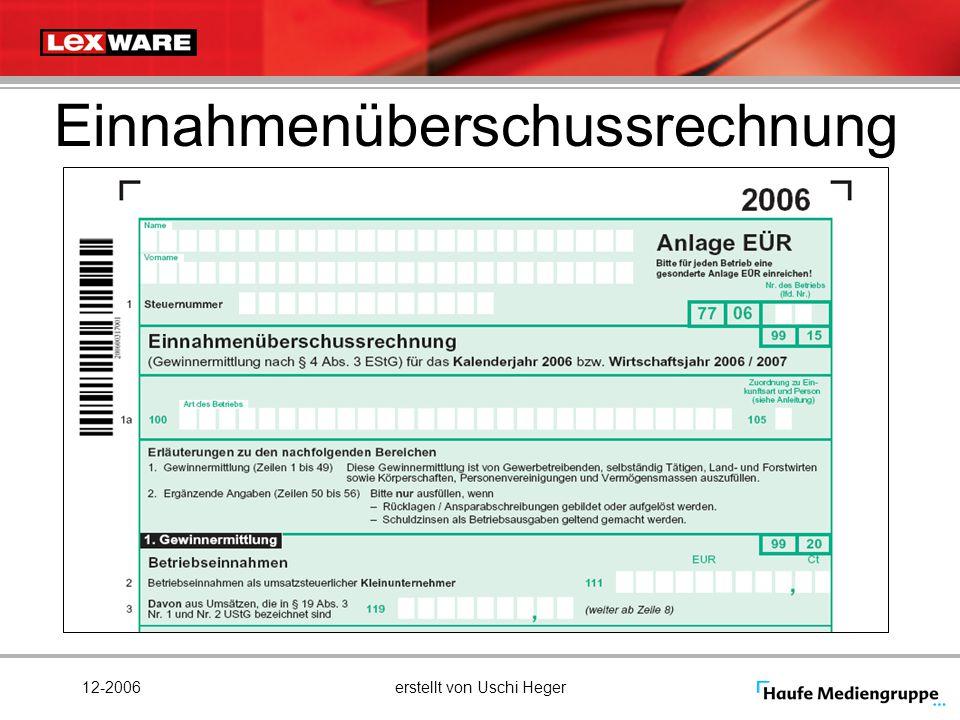 12-2006erstellt von Uschi Heger Einnahmenüberschussrechnung