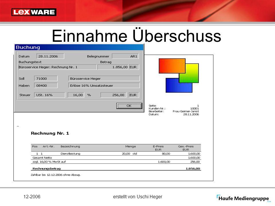 12-2006erstellt von Uschi Heger Einnahme Überschuss
