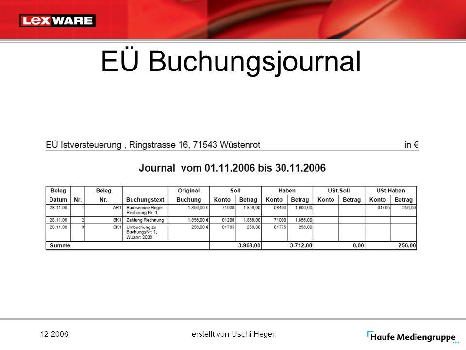 12-2006erstellt von Uschi Heger EÜ Buchungsjournal