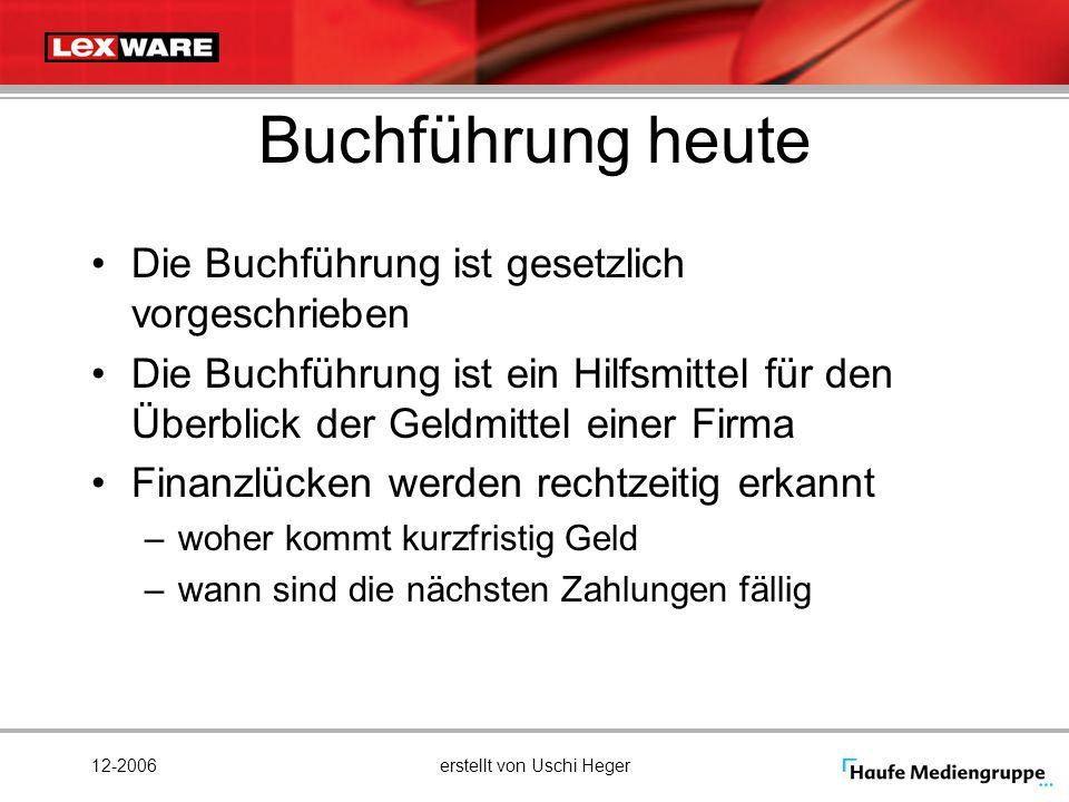 12-2006erstellt von Uschi Heger Buchführung heute Die Buchführung ist gesetzlich vorgeschrieben Die Buchführung ist ein Hilfsmittel für den Überblick