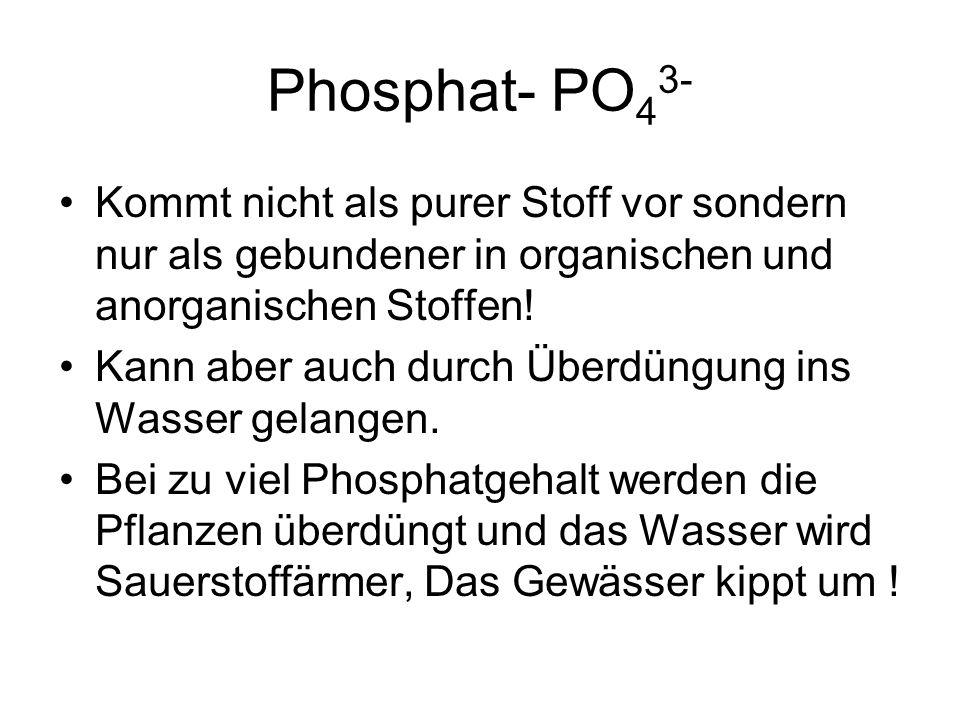 Phosphat- PO 4 3- Kommt nicht als purer Stoff vor sondern nur als gebundener in organischen und anorganischen Stoffen! Kann aber auch durch Überdüngun
