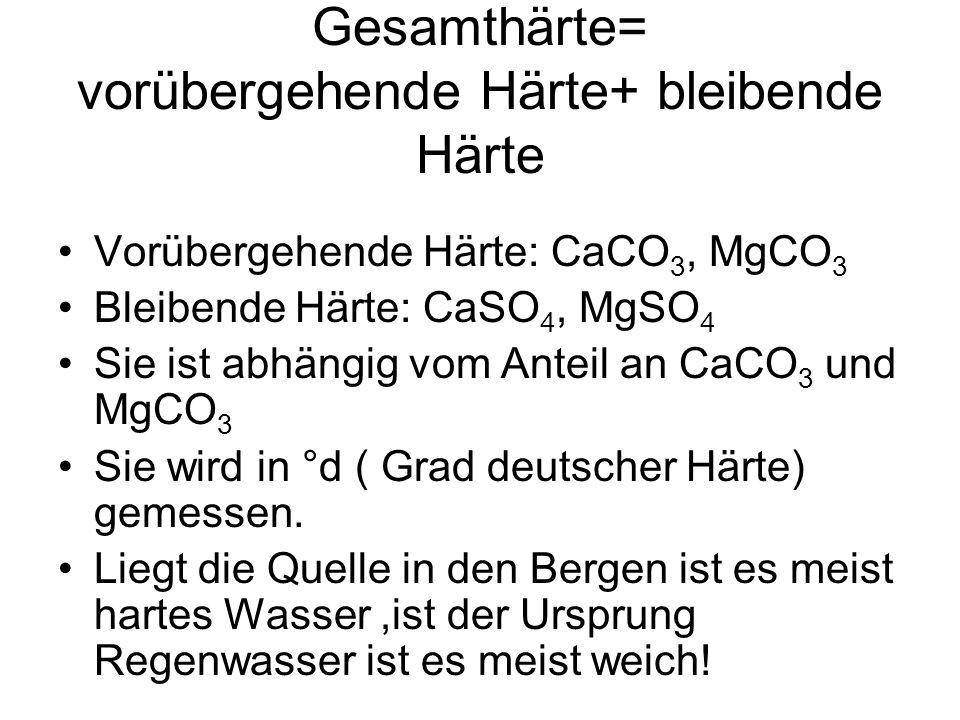 Gesamthärte= vorübergehende Härte+ bleibende Härte Vorübergehende Härte: CaCO 3, MgCO 3 Bleibende Härte: CaSO 4, MgSO 4 Sie ist abhängig vom Anteil an