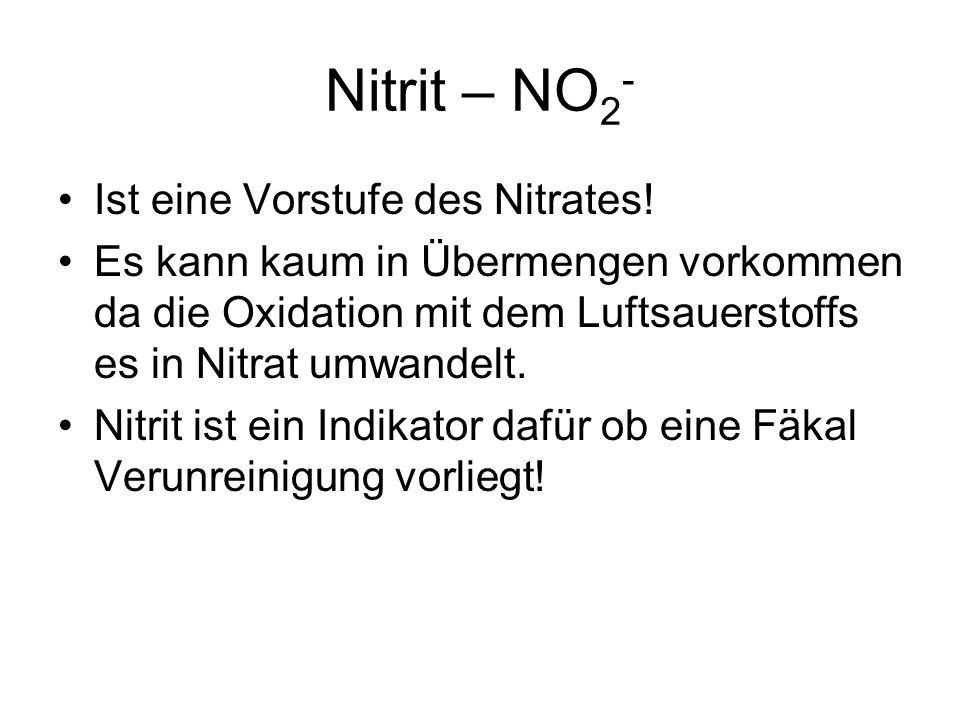 Nitrit – NO 2 - Ist eine Vorstufe des Nitrates! Es kann kaum in Übermengen vorkommen da die Oxidation mit dem Luftsauerstoffs es in Nitrat umwandelt.