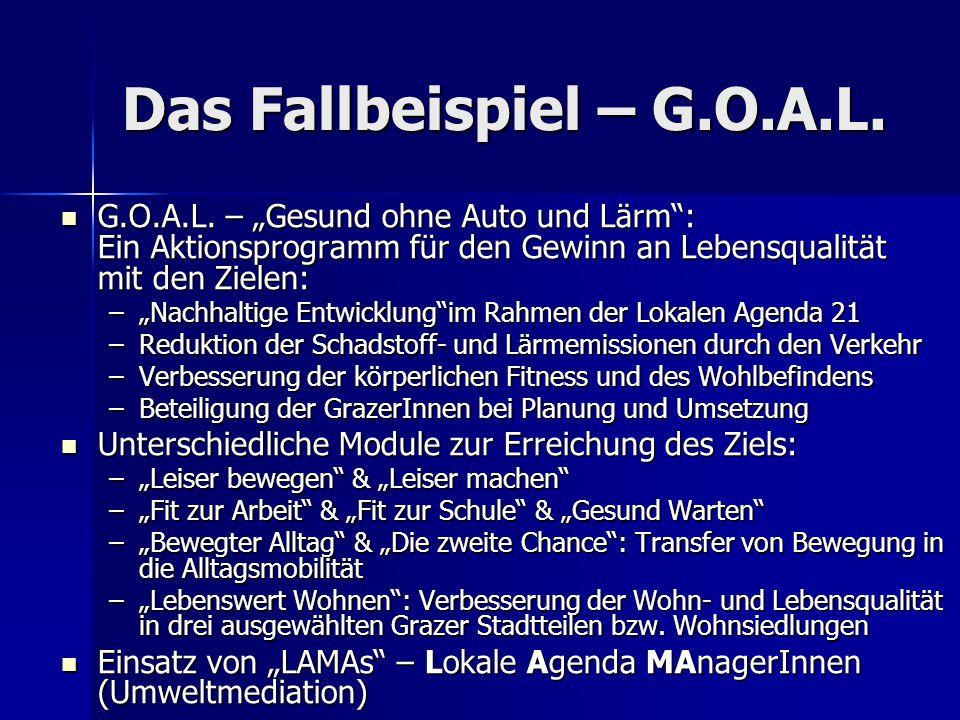 """Das Fallbeispiel – G.O.A.L. G.O.A.L. – """"Gesund ohne Auto und Lärm"""": Ein Aktionsprogramm für den Gewinn an Lebensqualität mit den Zielen: G.O.A.L. – """"G"""