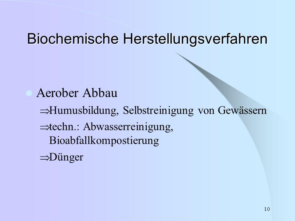 10 Biochemische Herstellungsverfahren Aerober Abbau  Humusbildung, Selbstreinigung von Gewässern  techn.: Abwasserreinigung, Bioabfallkompostierung
