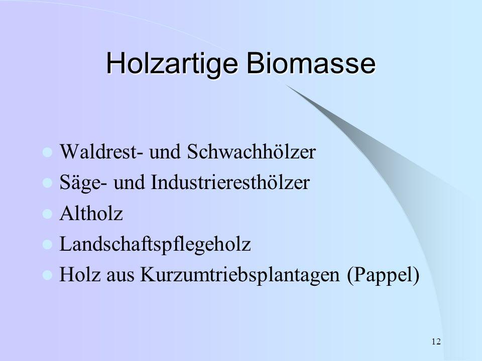 12 Holzartige Biomasse Waldrest- und Schwachhölzer Säge- und Industrieresthölzer Altholz Landschaftspflegeholz Holz aus Kurzumtriebsplantagen (Pappel)