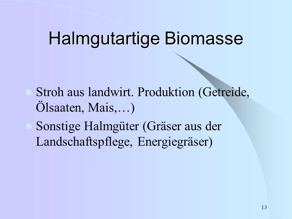 13 Halmgutartige Biomasse Stroh aus landwirt. Produktion (Getreide, Ölsaaten, Mais,…) Sonstige Halmgüter (Gräser aus der Landschaftspflege, Energiegrä