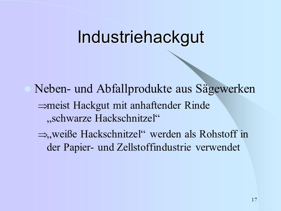 """17 Industriehackgut Neben- und Abfallprodukte aus Sägewerken  meist Hackgut mit anhaftender Rinde """"schwarze Hackschnitzel""""  """"weiße Hackschnitzel"""" we"""