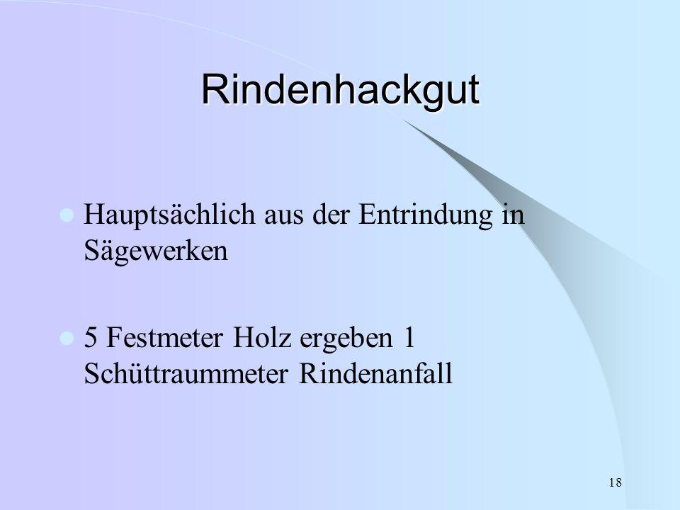 18 Rindenhackgut Hauptsächlich aus der Entrindung in Sägewerken 5 Festmeter Holz ergeben 1 Schüttraummeter Rindenanfall