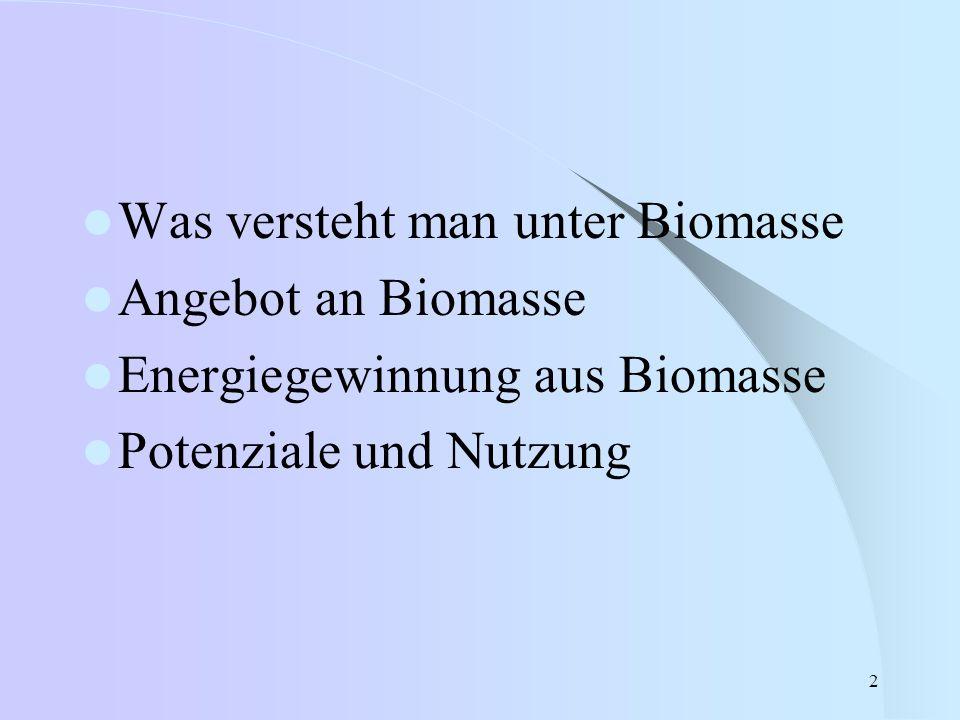 2 Was versteht man unter Biomasse Angebot an Biomasse Energiegewinnung aus Biomasse Potenziale und Nutzung