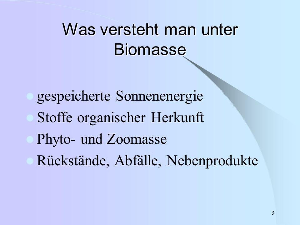 3 Was versteht man unter Biomasse gespeicherte Sonnenenergie Stoffe organischer Herkunft Phyto- und Zoomasse Rückstände, Abfälle, Nebenprodukte