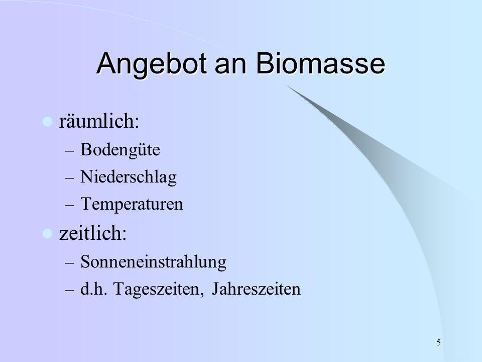 5 Angebot an Biomasse räumlich: – Bodengüte – Niederschlag – Temperaturen zeitlich: – Sonneneinstrahlung – d.h. Tageszeiten, Jahreszeiten