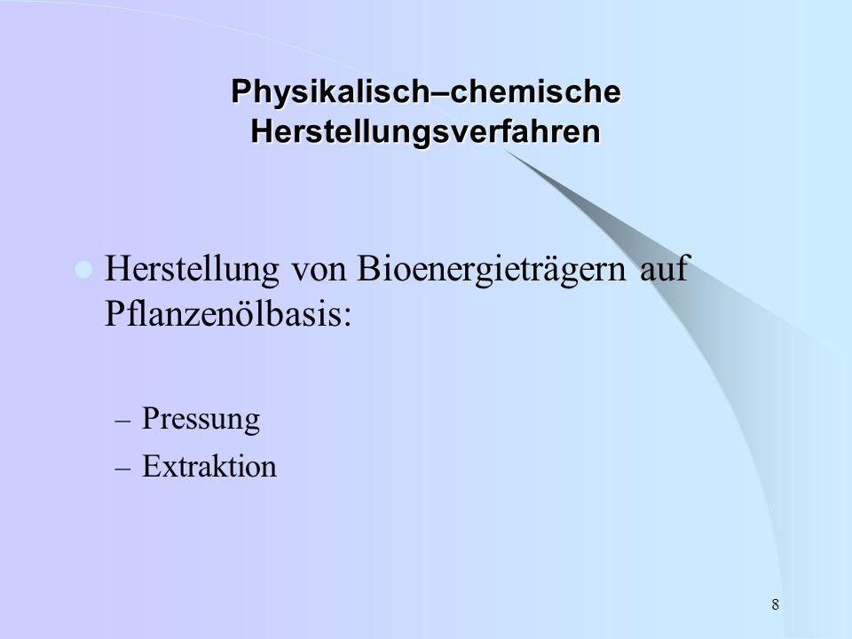 8 Physikalisch–chemische Herstellungsverfahren Herstellung von Bioenergieträgern auf Pflanzenölbasis: – Pressung – Extraktion
