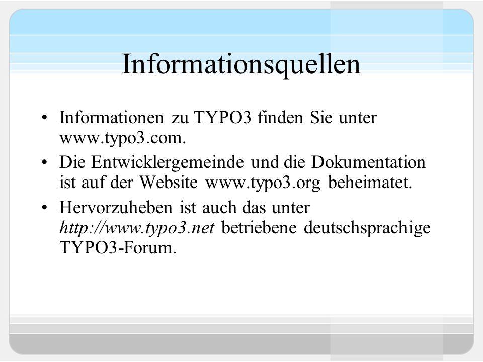 Dokumentation Core documentation Tutorials Installation Extension manuals Videodokumentationsprojekt (auf der BUCH CD- ROM enthalten)