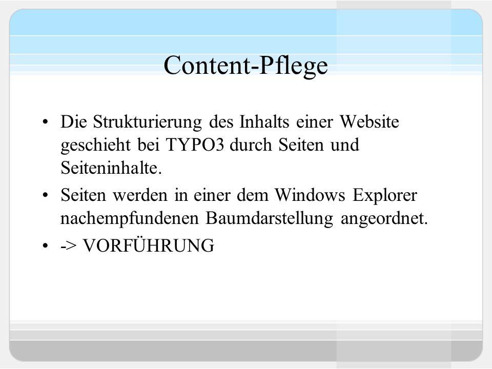Content-Pflege Die Strukturierung des Inhalts einer Website geschieht bei TYPO3 durch Seiten und Seiteninhalte.