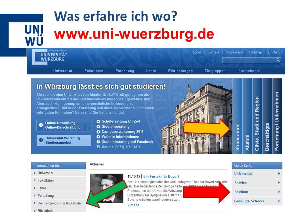 Was erfahre ich wo? www.uni-wuerzburg.de