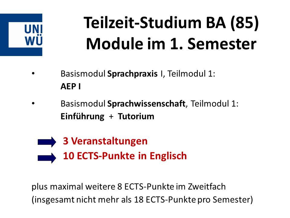 Teilzeit-Studium BA (85) Module im 1. Semester Basismodul Sprachpraxis I, Teilmodul 1: AEP I Basismodul Sprachwissenschaft, Teilmodul 1: Einführung +