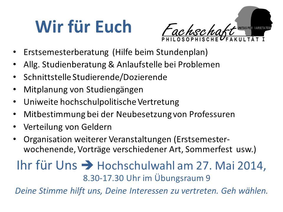 Wir für Euch Erstsemesterberatung (Hilfe beim Stundenplan) Allg. Studienberatung & Anlaufstelle bei Problemen Schnittstelle Studierende/Dozierende Mit