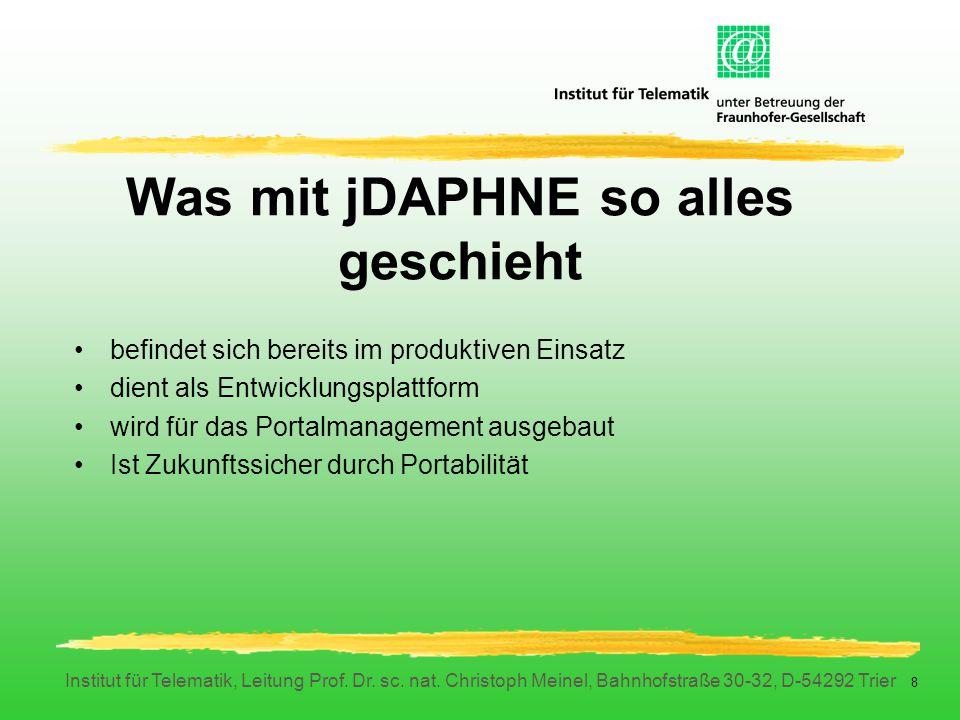 Institut für Telematik, Leitung Prof. Dr. sc. nat. Christoph Meinel, Bahnhofstraße 30-32, D-54292 Trier 8 Was mit jDAPHNE so alles geschieht befindet