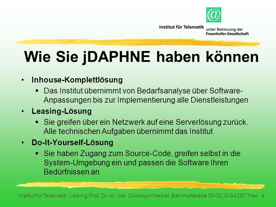 Institut für Telematik, Leitung Prof. Dr. sc. nat. Christoph Meinel, Bahnhofstraße 30-32, D-54292 Trier 9 Wie Sie jDAPHNE haben können Inhouse-Komplet