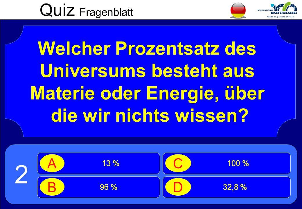 Quiz Fragenblatt Welcher Prozentsatz des Universums besteht aus Materie oder Energie, über die wir nichts wissen.