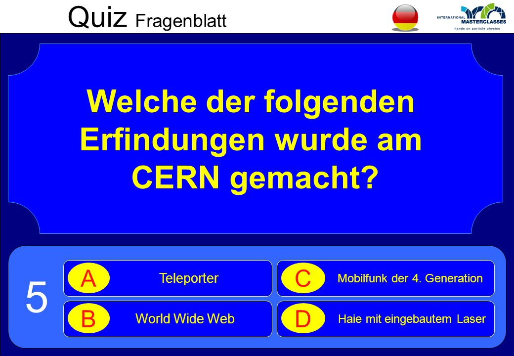 Quiz Fragenblatt Welche der folgenden Erfindungen wurde am CERN gemacht.